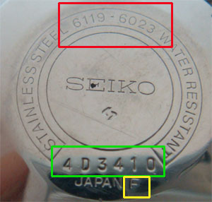 Seiko 7S26 case back model reference number